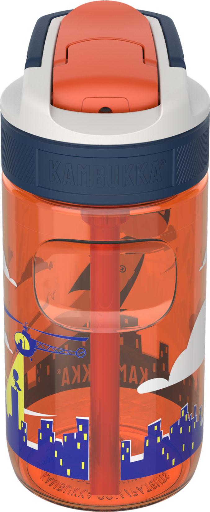 """בקבוק שתיה ילדים 400 מ""""ל כתום Kambukka Lagoon Flying Superboy קמבוקה"""