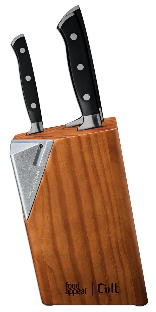 סט סכינים 4 חלקים יוקרתי עם מעמד ומשחיז סכינים מובנה Cult