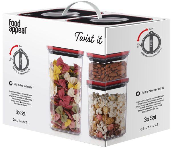 סט 3 כלי אחסון Food Appeal Twist It פוד אפיל