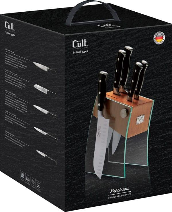 בלוק סכינים 6 חלקים הכולל 5 סכינים + מעמד זכוכית Food Appeal Cult Precision פוד אפיל