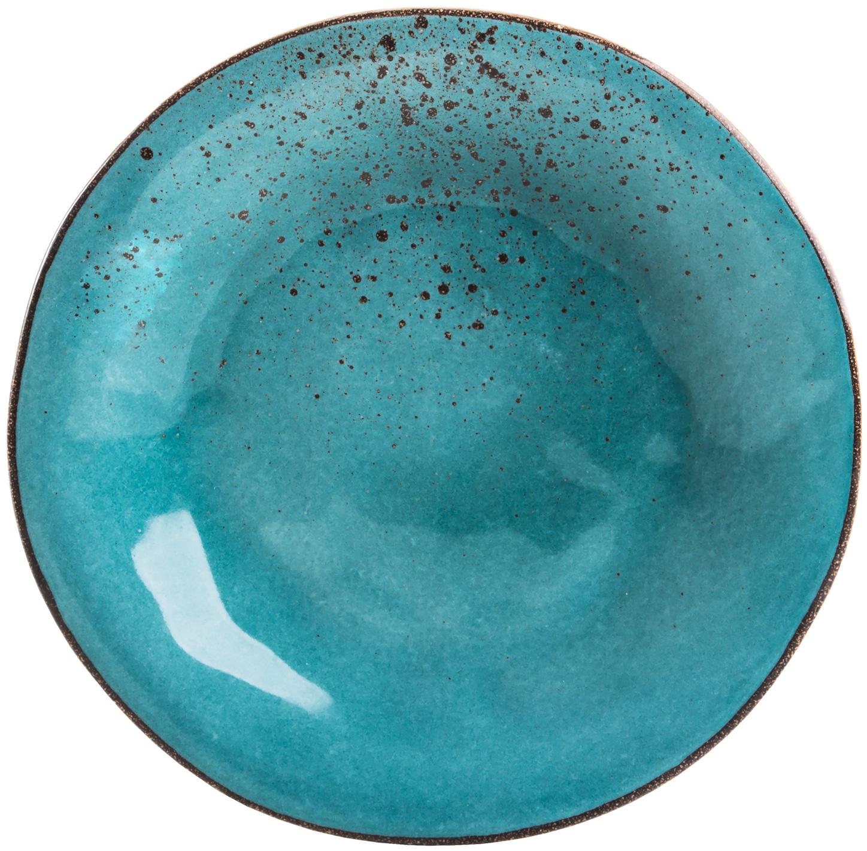 צלחת עגולה Turquoise Reactive Glaze Flat Plate