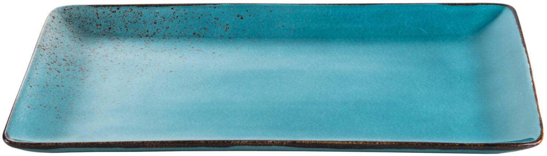 פלטה מלבנית להגשה 39 × 24 ס״ם Turquoise Reactive Glaze Rectangular Platter