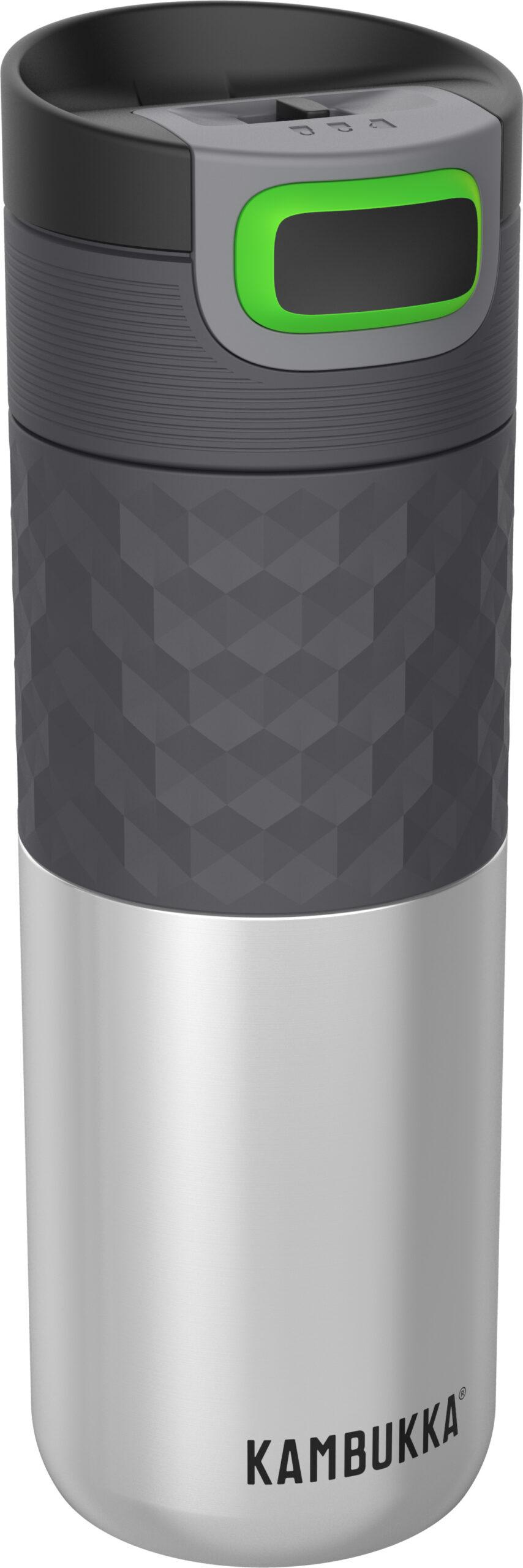 """בקבוק שתיה תרמי כסוף 500 מ""""ל Stainless Steel קמבוקה Kambukka Etna Grip"""