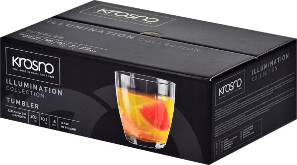 "סט 6 כוסות ויסקי 300 מ""ל Krosno Illumination Collection Tumbler"