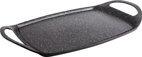 """פלאנצ'ה גריל אובלית חלקה 46 × 28 ס""""מ Black Marble פוד אפיל"""