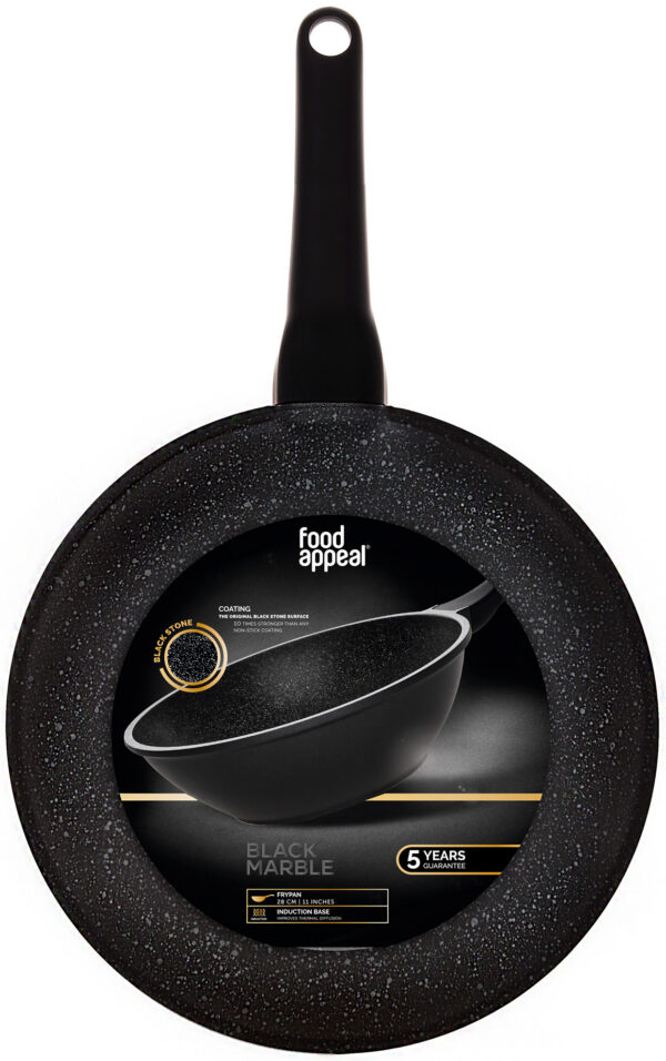 "ווק 30 ס""מ עם מכסה זכוכית Food Appeal Black Marble פוד אפיל"