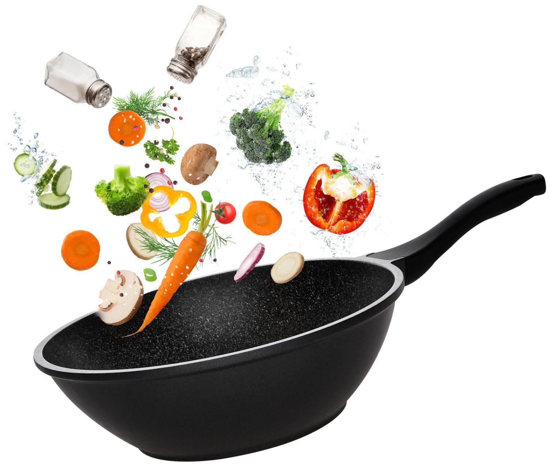 """ווק 30 ס""""מ עם מכסה זכוכית Food Appeal Black Marble  פוד אפיל"""