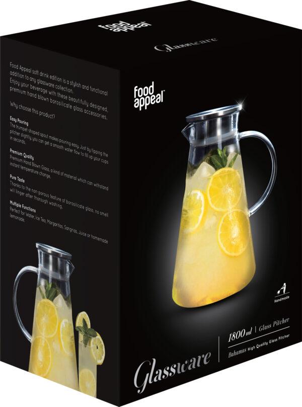 קנקן זכוכית לשתיה קרה 1.8 ליטר + 6 כוסות דגם Food Appeal Bahamas