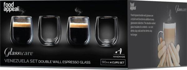 """סט 4 כוסות דאבל 90 מ""""ל Food Appeal Espresso Venezuela פוד אפיל"""
