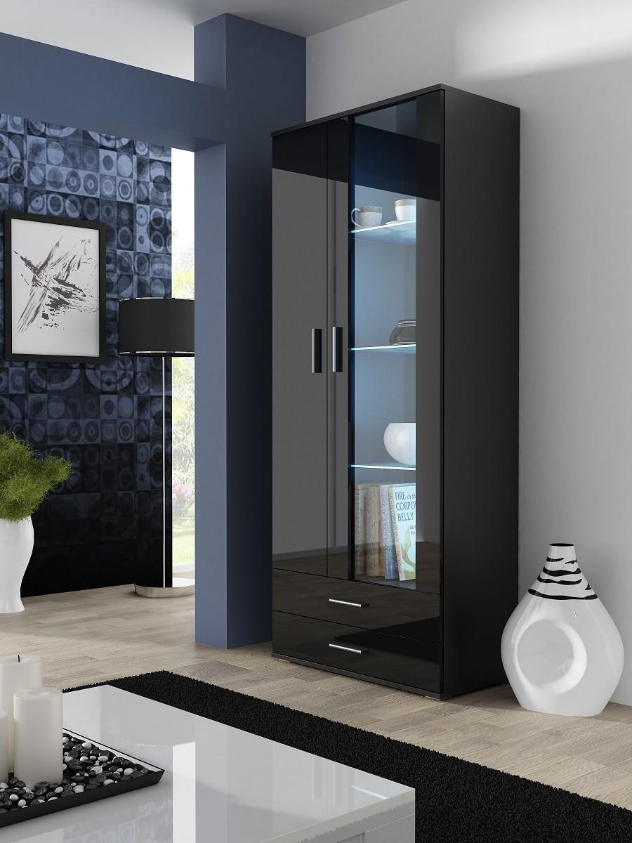 ויטרינה 2 דלתות עם מדפי זכוכית ומקום לאחסון דגם דווין Grand Style גראנד סטייל
