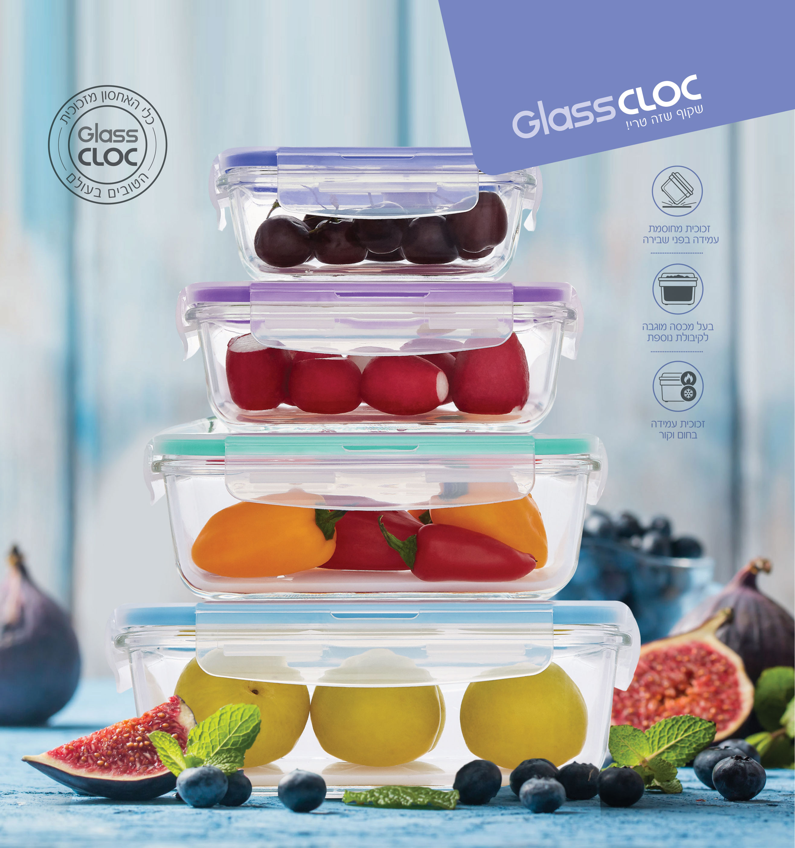 סט 4 כלי אחסון מזכוכית Food Appeal פוד אפיל
