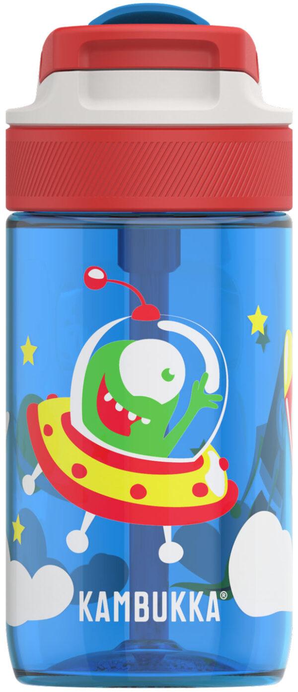 """בקבוק שתיה ילדים 400 מ""""ל כחול Kambukka Lagoon Happy Alien קמבוקה"""