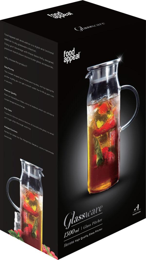 """קנקן זכוכית לשתיה קרה 1500 מ""""ל דגם Food Appeal Havana פוד אפיל"""
