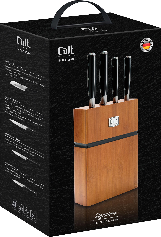 בלוק סכינים 5 חלקים הכולל 4 סכינים + מעמד עץ Food Appeal Cult Signature פוד אפיל