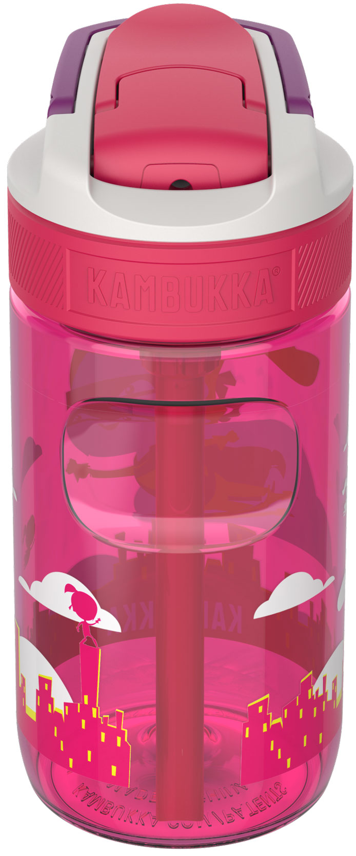 """בקבוק שתיה ילדים 400 מ""""ל ורוד Kambukka Lagoon Flying Supergirl קמבוקה"""