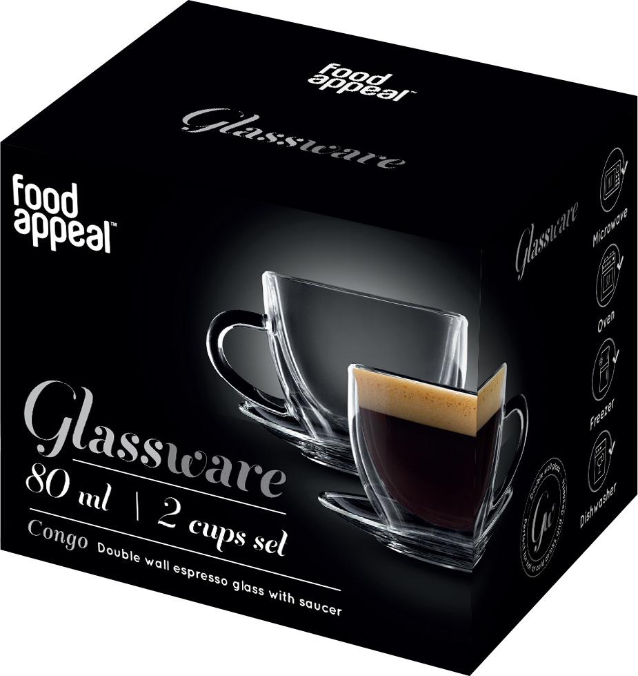 סט 2 כוסות עם צלוחית Food Appeal Espresso Congo פוד אפיל